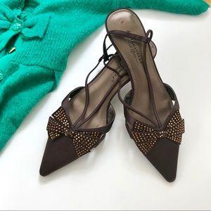 😍 A. Marinelli Crystal Bow Heels